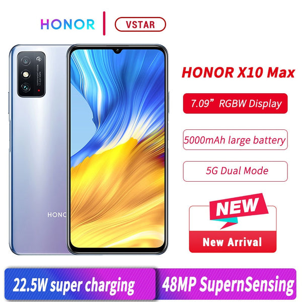 Stock Original HONOR X10 Max 5G SmartPhone 7.09 inch Big Screen MT6873 Octa Core 22.5W SuperCharge Multi-tasking fack unlock