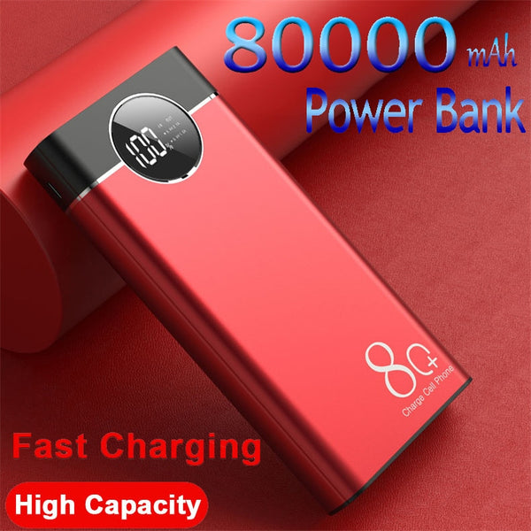 80000mAh Power Bank Large-Capacity Portable Phone Fast Charger Watch Digital Display Travel for Sumsung IPhone Xiaomi
