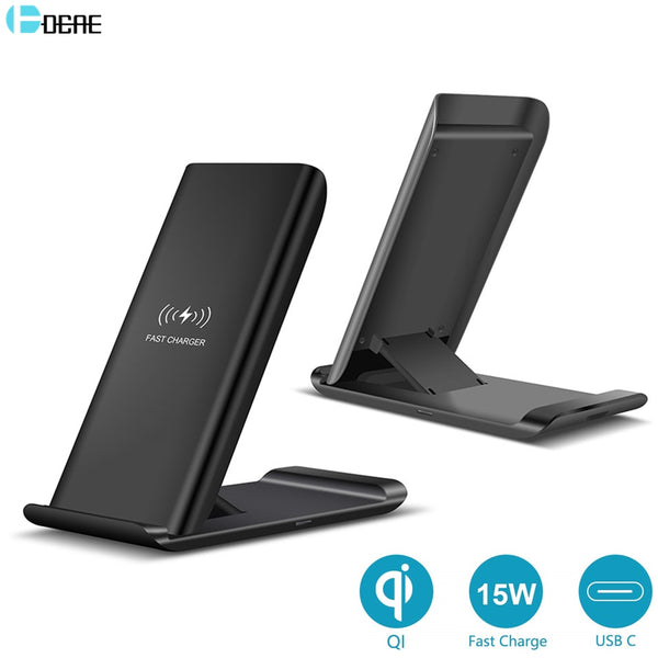 DCAE 15W Wireless Charger Desktop Stand Pad For Samsung S20 S10 Note 10 9 USB C Qi Fast Charging for IPhone 11 Pro Max XS XR X 8