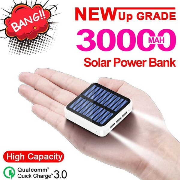 30000mAh Solar Power Bank Charger 3 USB Ports External Charger with Flashlight Powerbank for Xiaomi MI IPhone 8 Samsung