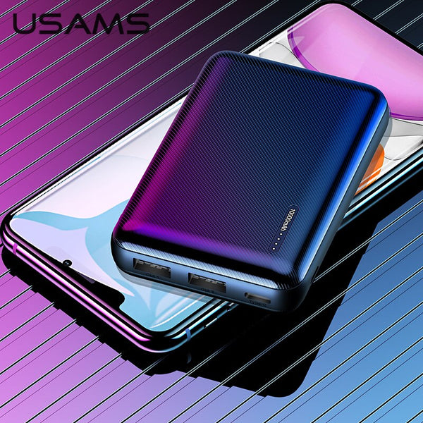 USAMS Mini Powerbank 10000mAh Dual USB Portable Battery Power Bank Charger Mobile External Powerbank For Xiaomi Mi 9 8 iPhone