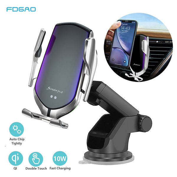 Automatic Clamping 10W Qi Car Wireless Charger For iPhone 11 Pro X Xs MAX Infrared Induction Fast Charger Stand Car Phone Holder