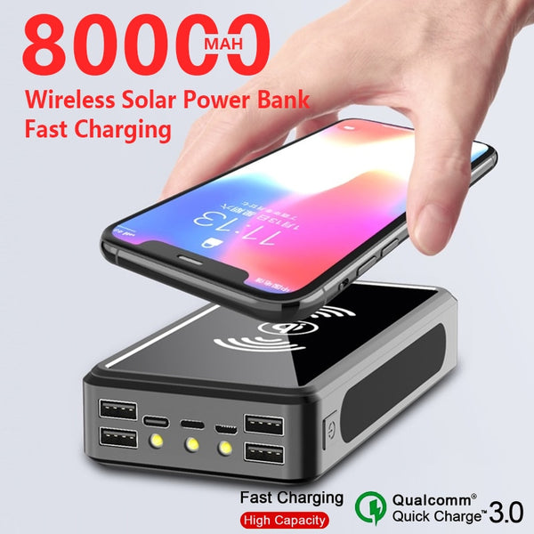 Qi Wireless Charge 80000mAh Solar Power Bank Mobile Power 4usb Charger 9V4A External Battery Bank for Iphone Samsung Xiaomi