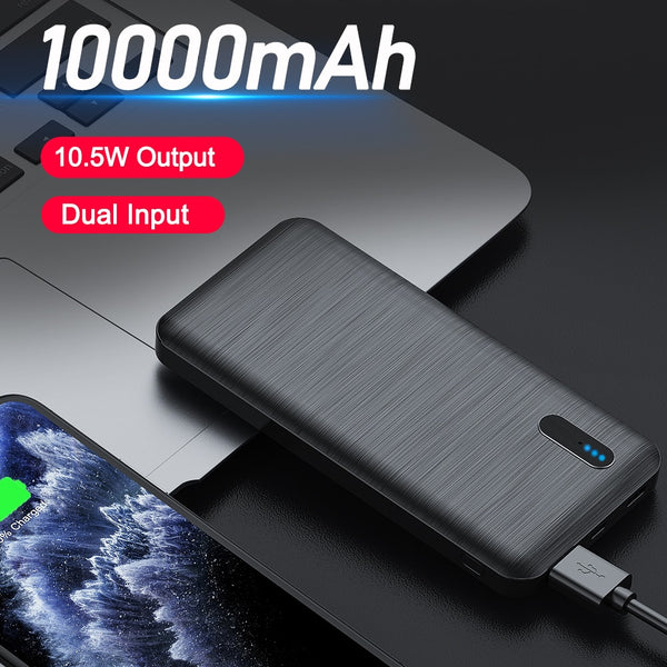 YKZ Power Bank 10000mAh Portable Charger Travel Power Bank Type C Usb Mini Fast Charge Phone Powerbank For Xiaomi HUAWEI iPhone