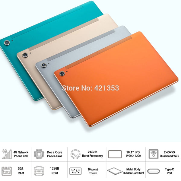 Newest L106 10.1 inch Tablet MT6797 X27 Deca Core 1920*1200 2.5K IPS Screen 13.0MP Dual 4G 6GB RAM 128GB ROM Android Tablet pc