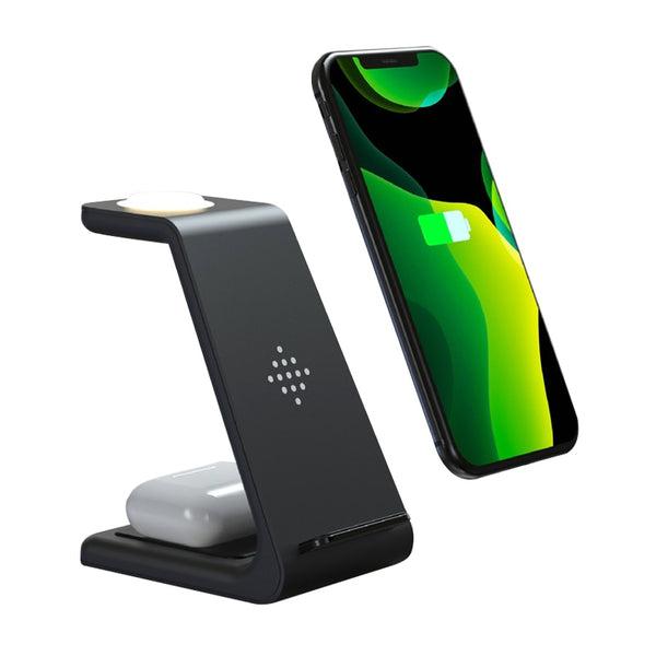 3 in 1 Wireless Charger Stand for iPhone 11 Pro SE2 Samsung S10 Qi Wireless Charger Dock Station for AirPods Samsung Galaxy Buds