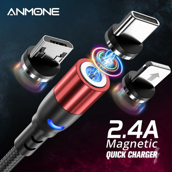 ANMONE Micro USB Magnetic Cable  USB Type c Cable Fast Charging Wire For Samsung Huawei Xiaomi Redmi Android USB C Charger Cord