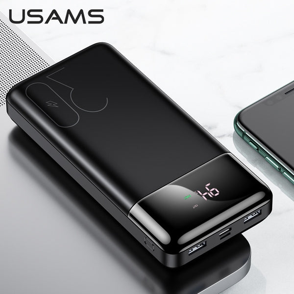 USAMS QC 3.0+PD Power Bank 30000mAh Fast Charging Powerbank Phone External Battery Powerbank For Iphone Samsung Huawei Xiaomi (Black)