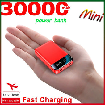 Mini Power Bank 30000MA Portable Charger Outdoor Power SluppyTravel Power Bank Digital Display LED Lighting for Xiaomi Samsung