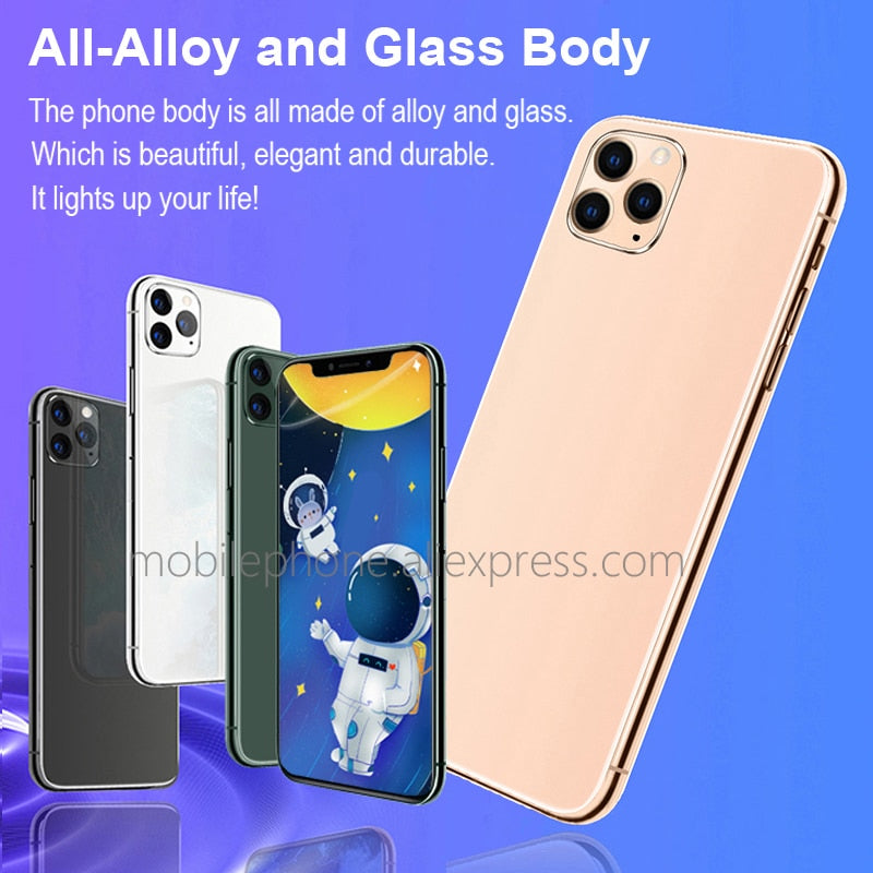 "Notch Screen Android  Big Screen 6.5"" inch metal body 11Pro Smartphone Unlocked Smart Mobile Cell Phone Google Play Free Gift"