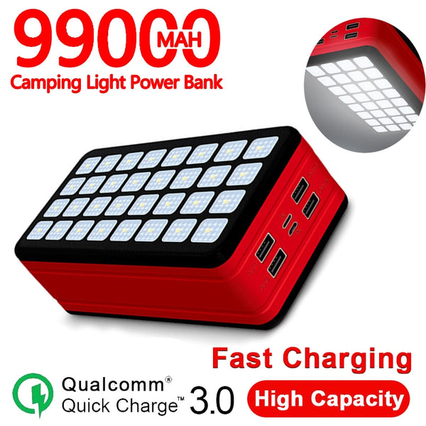 99000mAh Power Bank Large Capacity Portable Charger Outdoor Waterproof Power Bank Suitable for Xiaomi Samsung Iphone 11