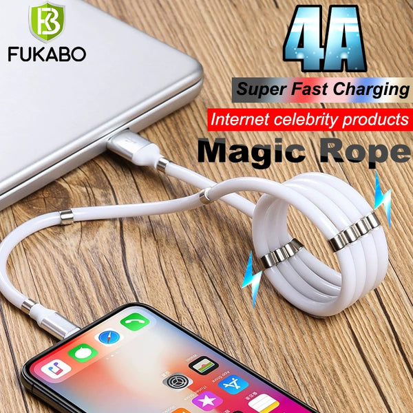 Magnetic Magic rope USB Data Sync Lightning Cable 4A Fast Charging Cable For iPhone 12 11 Pro X XS MAX XR 6 7 8 SE Charger Cord