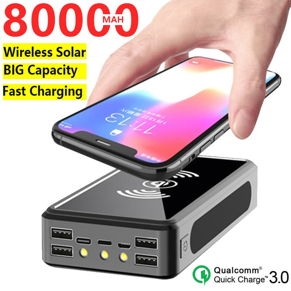 80000mAh Wireless Solar Power Bank Portable Big Capacity External Battery Quick Charge Powerbank for Xiaomi Samsung IPhone