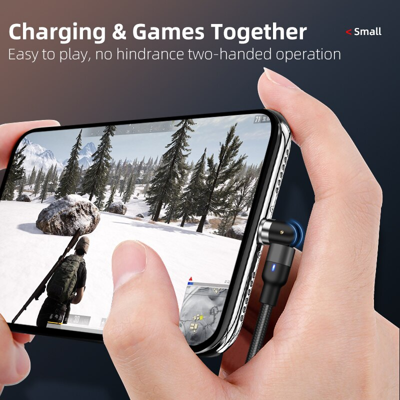 New Updated Magnetic Cable Fast Charging 3A Micro USB Type C Mobile Phone Cable For All Samsung iPhone 360+180 Degree Roating