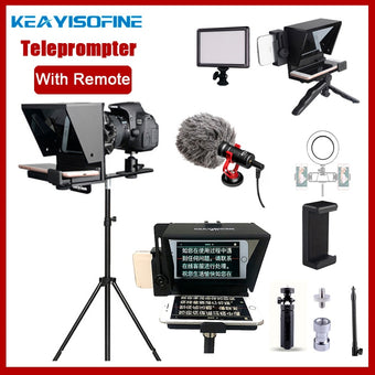Portable Mini Teleprompter for Phone DSLR Recording Live Broadcast Mobile Teleprompter Artifact Video With Remote Control VS T1