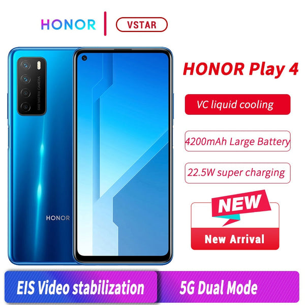 Original HONOR Play 4 5G SmartPhone 6.81 inch MT6873 Android 10 Fingerprint ID 22.5W SuperCharge