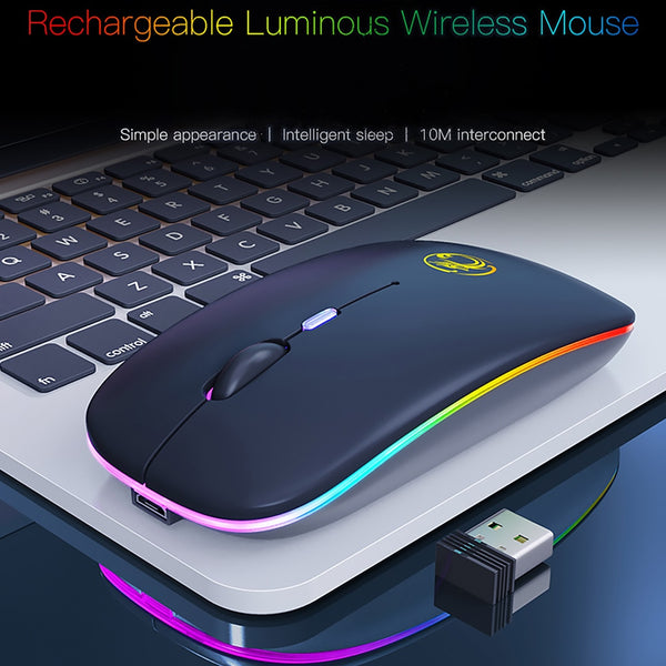 Rechargeable Wireless Mouse 1600 DPI Wireless Computer Mouse Silent USB Mause for Laptop PC Desktop