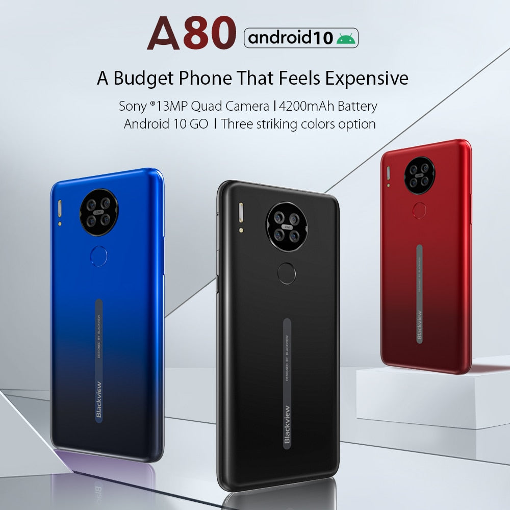 Blackview A80 Quad Rear Camera Android 10.0 Go Mobile Phone 6.21' Waterdrop HD Screen 2GB+16GB Cellphone 4200mAh 4G Smartphone