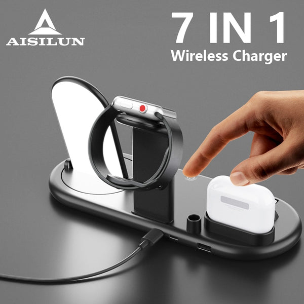 10w Wireless Charger For iPhone 11Pro XR XS MAX Fast Wireless Full load 7 in 1 Charging Pad For Apple Watch 5 4 3 For Airpods