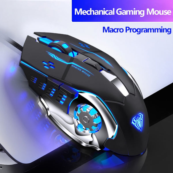 Wired Gaming Mouse 6 Programmable Buttons Ergonomic Mice Colorful LED Light Mouse for PC Computer Laptop,Game and Office