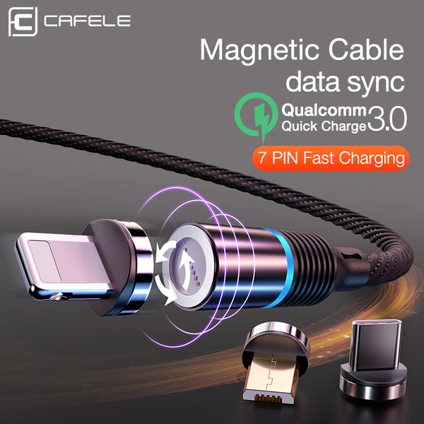 Cafele Newest LED QC3.0 Magnetic USB Cable for iPhone Micro USB Cable type C Braided cable Charger for Samsung Xiaomi Huawei