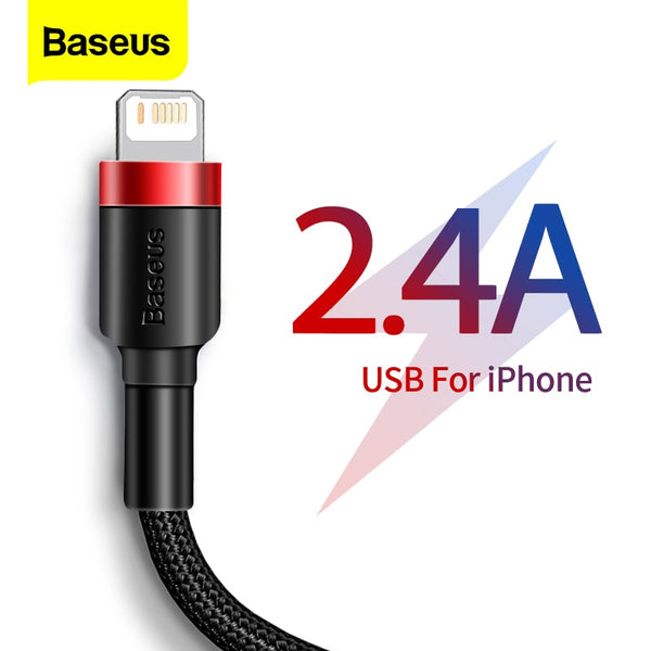 Baseus USB Cable For iPhone 11 Pro Max XR X 8 7 6 6s Plus 5 5S iPad Pro 2.4A Fast Charging Charger Data Cord Mobile Phone Cables