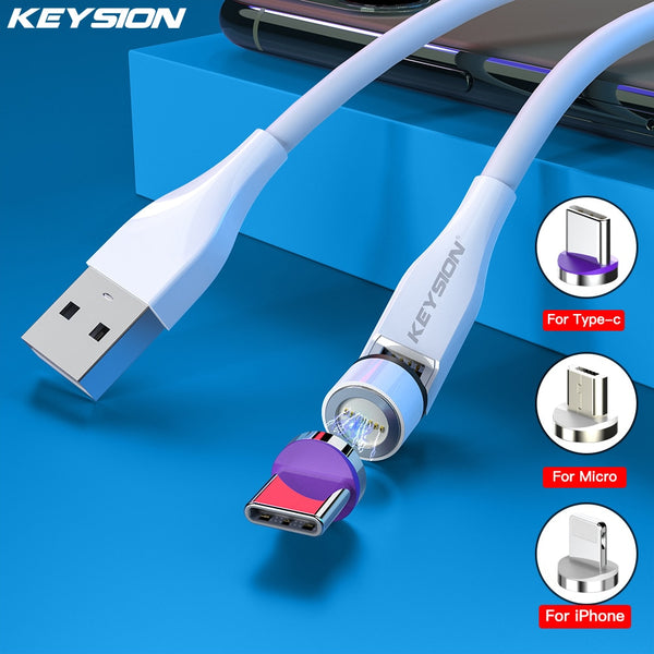 KEYSION 3A Magnetic Cable TypeC Fast Charging Cord for Xiaomi Huawei Micro USB Cable for Samsung for iPhone Magnet Game Cable