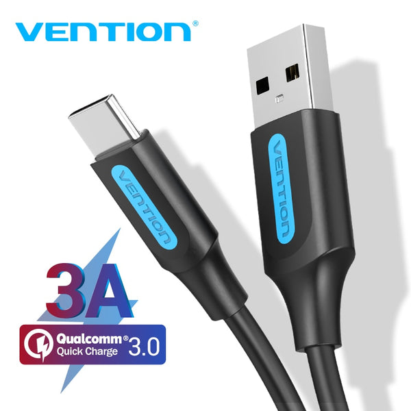 Vention USB Type C Cable for Huawei Samsung 3A Quick Charge 3.0 USB C Fast Charging Wire for Xiaomi 10 Pro USB Type-C Data Cable