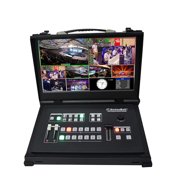 DeviceWell HDS9106 6 channel Guide Switcher SDI HDMI Portable New Media Live Broadcasts Video Switcher with 15.6