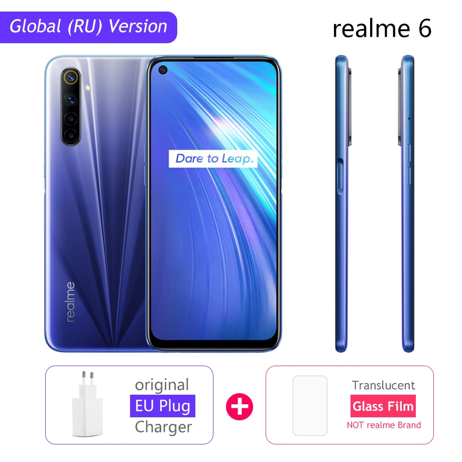 realme 6 Global Version Mobile Phone 4GB 8GB RAM 128GB ROM 30W EU Flash Charge 4300mAh Helio G90T 64MP Camera NFC Play Store