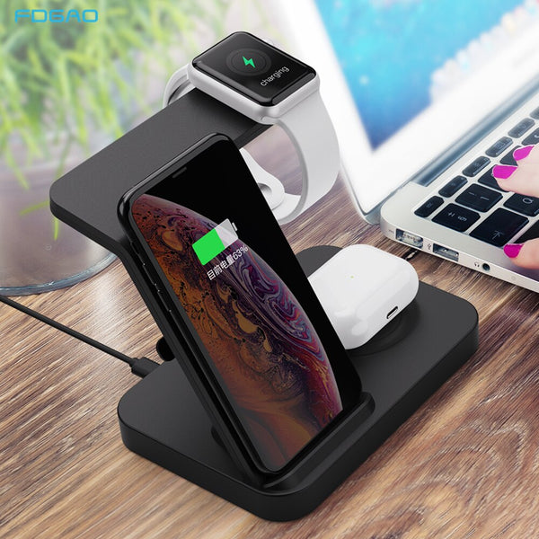 15W Qi Fast Wireless Charger Stand For iPhone 11 XS XR Airpods Pro iWatch 3 in 1 Charging Dock Station for Samsung S20 S10 Buds (Black)