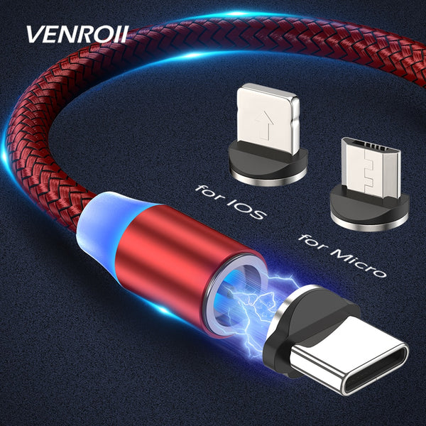 Venroii Magnetic Charging Cable Micro USB Type C Cable for Samsung Galaxy S9 Plus S20 Xiaomi Mi 8 9 10 Redmi Phone Charger Cord