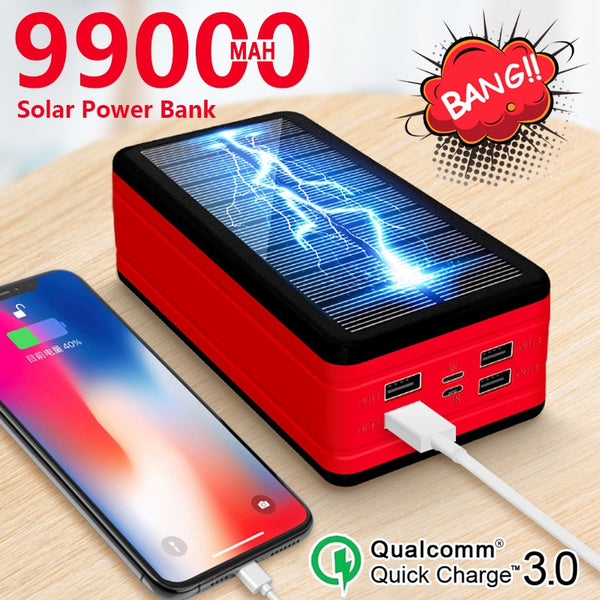 99000mAh Solar Power Bank  Portable Large capacity Charger Large Capacity LED Outdoor Waterproof Poverbank for Iphone Xiaomi