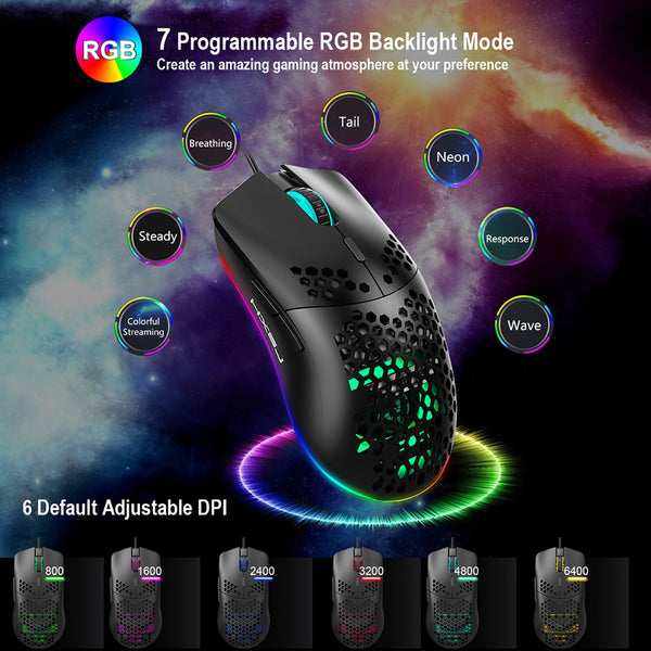 J900 Gaming Mouse 6400DPI Adjustable RGB Macro Programmable Mechanical Button Wired Mouse Game Mice For Windows10/8/7