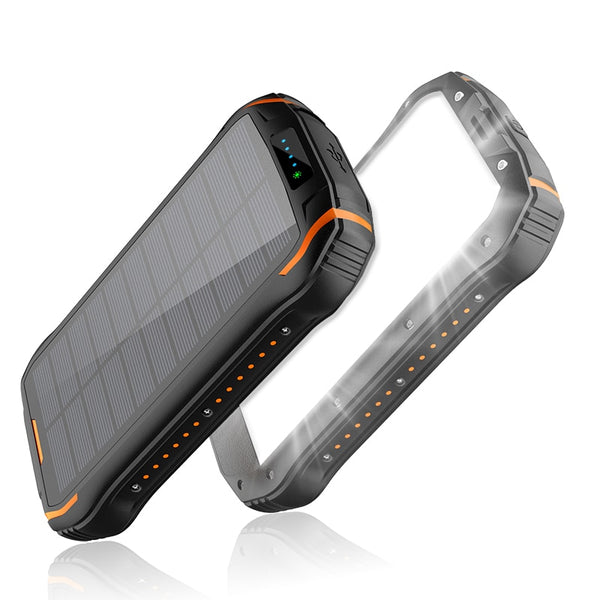 26800mAh Solar Power Bank Waterproof Powerbank with Camping Flashlight Portable Charger Poverbank For iPhone 11 Samsung Xiaomi