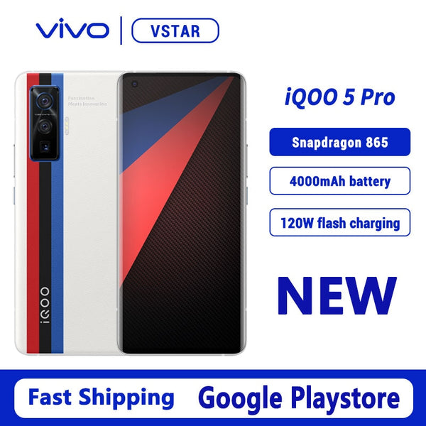 Original VIVO iQOO 5 Pro 5G SmartPhone 6.56 inch 120Hz AMOLED Snapdragon 865 Octa Core 120W FlashCharge Wi-Fi 6