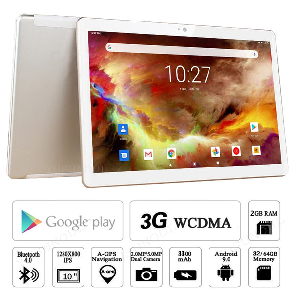 Google Play 3G Phone Call Tablet Pc 10 inch Android 9.0 Tablet WiFi Bluetooth GPS IPS 2.5D Tempered Glass+64G SD Card Free Gifts