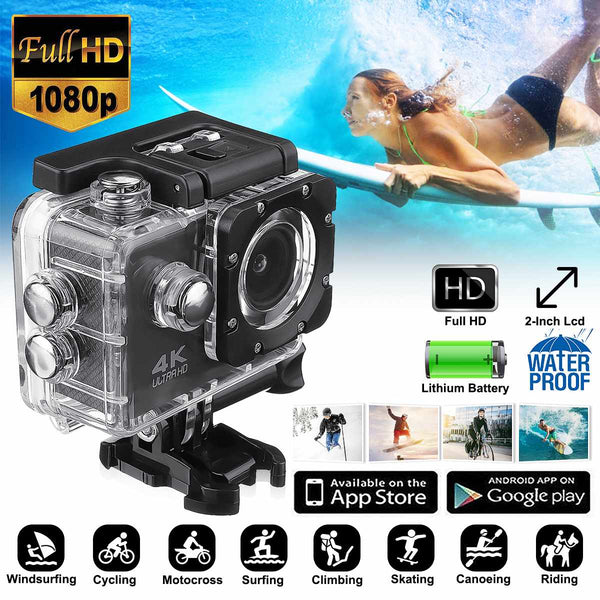 Action Camera Wifi Ultra HD 4k 1080P 170 Degree  Waterproof Underwater Sport Camera Video Camcorder