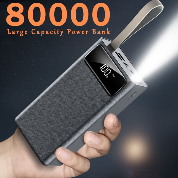 Power Bank 80000mAh Large Capacity Portable Charger 2USB Port  Outdoor Fast Charging Power Bank for Xiaomi Samsung IPhone