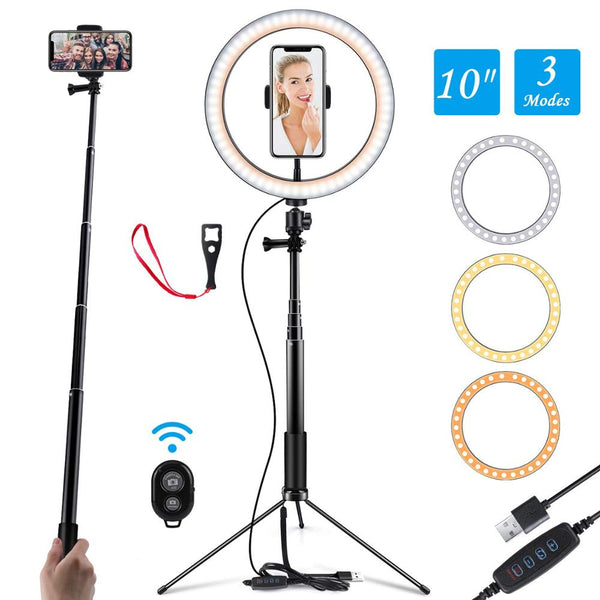 10 Inch LED Selfie Ring  Light USB Ring Lamp Photography Photo with Phone Holder 1.5M tripod stand for Smartphone Makeup