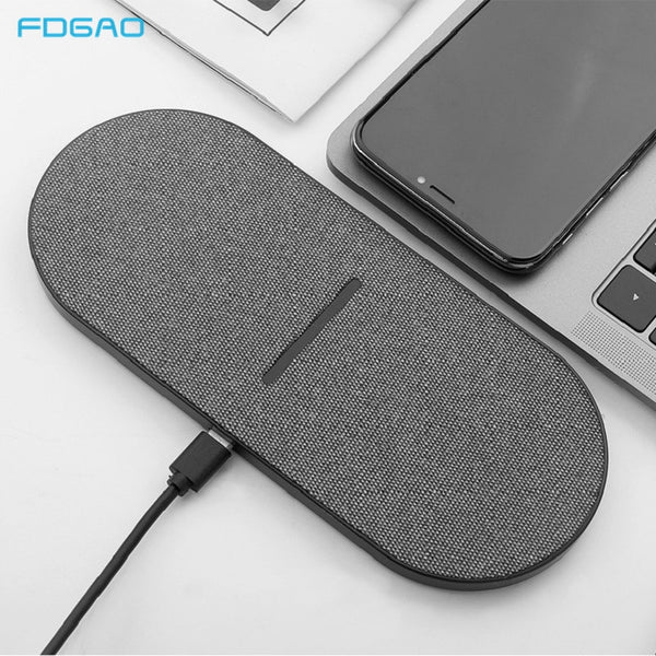 2 in 1 20W Dual Seat Qi Wireless Charger for Samsung S20 S10 Double Fast Charging Dock Pad for IPhone 11 XS XR X 8 Airpods Pro