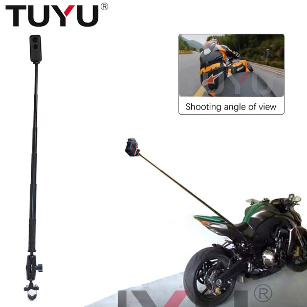 TUYU Motorcycle Action Camera Handlebar Bracket for GoPro DJI Insta360 One R Invisible adjustable Selfie Stick Camera Accessory