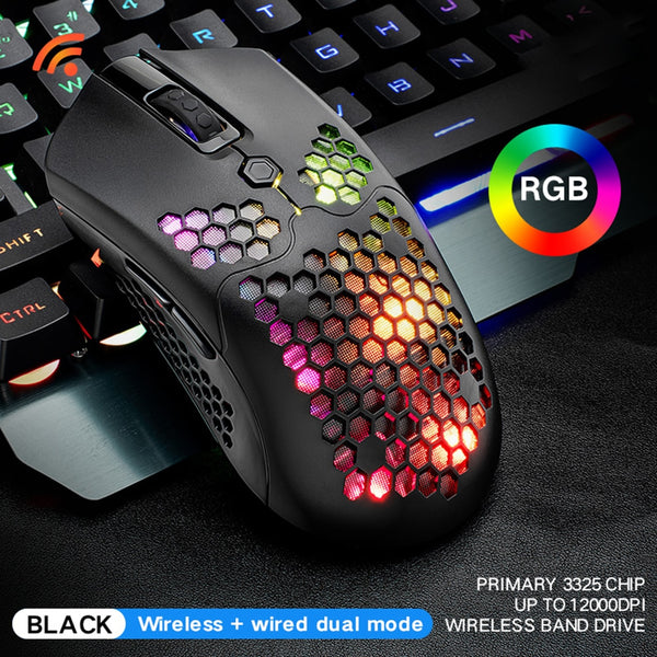 X2 Wireless Gaming Mouse 7 Buttons 12000 DPI Adjustable RGB Backlit Ergonomic Mouse Lightweight Honeycomb Shell Gamer Mice