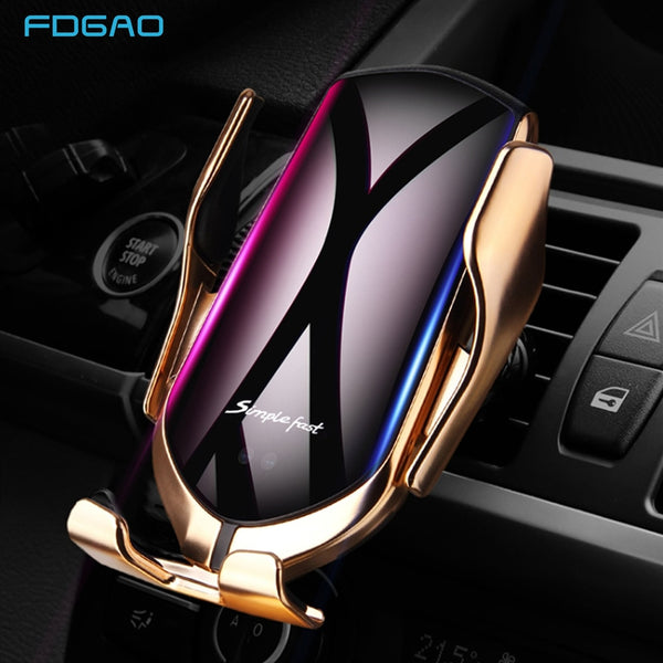 DCAE Automatic Clamping 10W Wireless Car Charger For iPhone XS XR X 8 11 Pro Samsung S20 S10 Qi Fast Charging Car Phone Holder