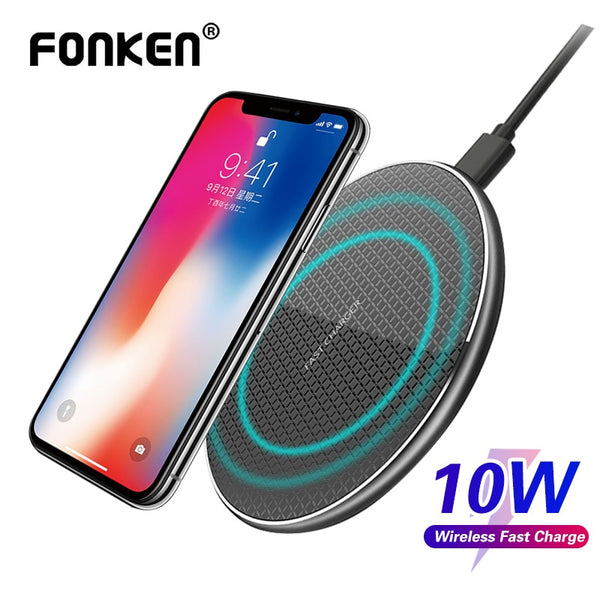 FONKEN Fast Wireless Charger Qi 10W Wireless Charging Pad Quick Charge For Iphone 8 Plus 11 Oneplus 5W 7.5W Phone Charge Station