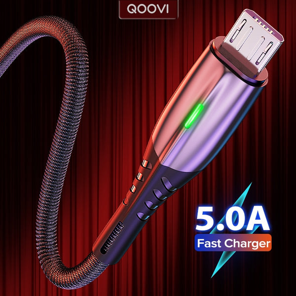 5A 2m Micro USB Type C Cable LED Android Mobile Phone Charger Fast Charging Microusb Data Cord Charge For Xiaomi Samsung Huawei