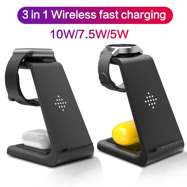 3 in 1 Qi 10W Fast Wireless Charger for iphone Samsung Phone Holder for iWatch 5 for Airpods Galaxy Buds Gear S4 S3 Dock Charger