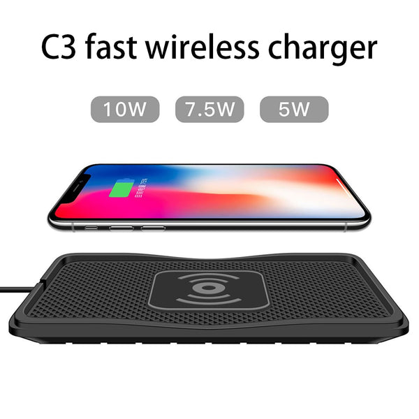 10W No-Slip Silicone QI car wireless charger Pad quickly Charging Dock Station Dashboard Holder For Phone