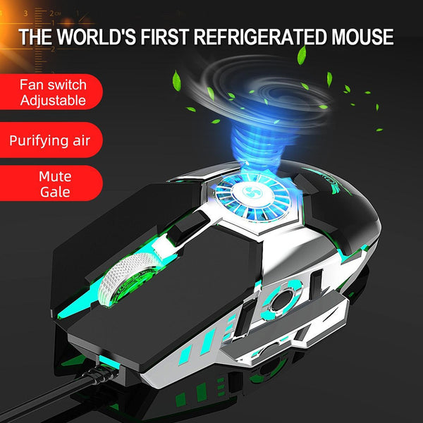 Professional RGB Gaming Mouse Innovative Anti-Sweat Palm Cooling Gamer Mouse DPI Adjustable High Precision Gaming Mice with Fan