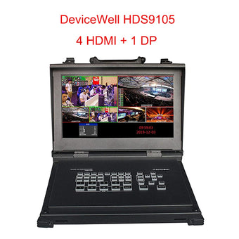 DeviceWell HDS9105 9105 Video Switcher Five-Channel high-Definition Supports 4 HDMI + 1DP Signal inputs for Broadcasting Live